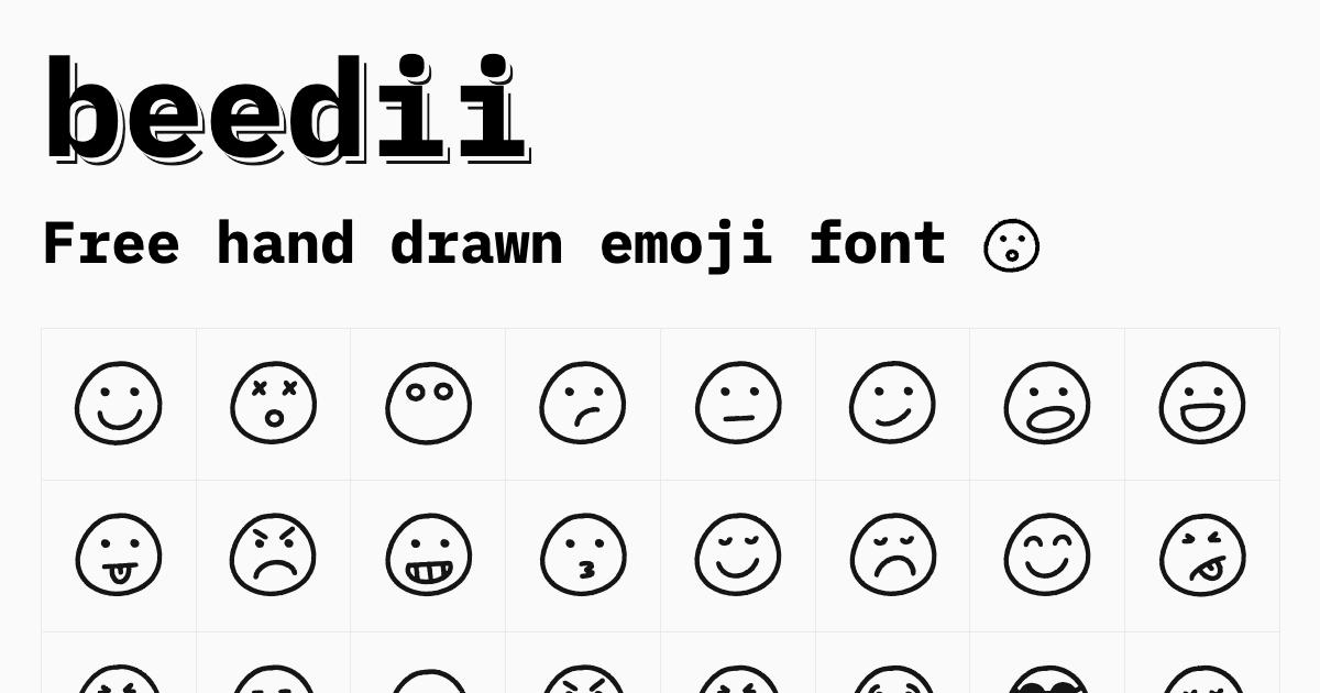 Free Hand Drawn Emoji Font | 40+ Free Icons - beedii